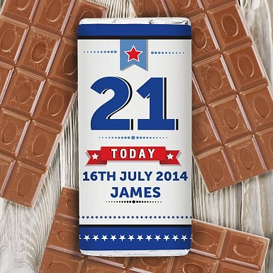 Personalised Birthday Star Milk Chocolates Bar
