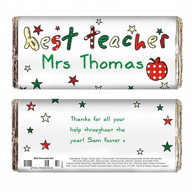 Personalised Teacher Milk Chocolates Bar