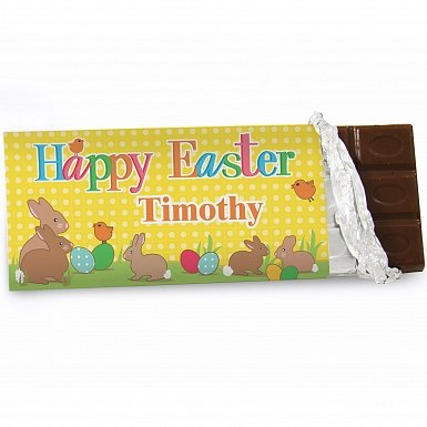 Personalised Easter Bunny Milk Chocolates Bar