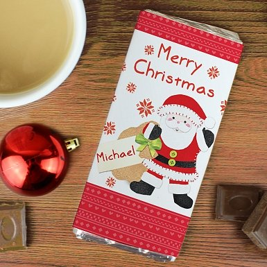 Personalised Felt Stitch Santa Milk Chocolates Bar