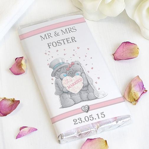 Personalised Me To You Wedding Couple Milk Chocolates Bar