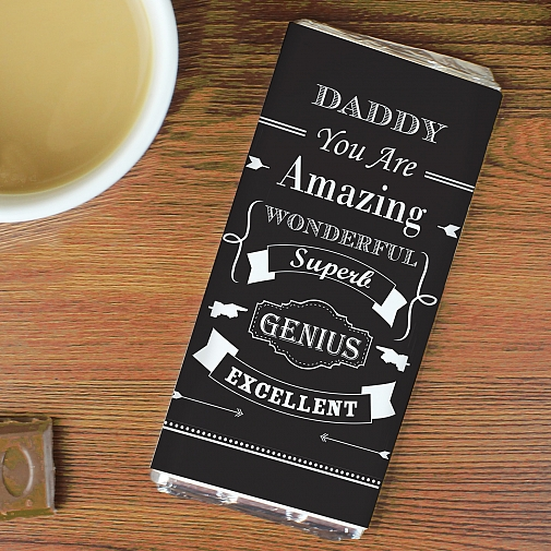 Personalised Vintage Typography Milk Chocolates Bar