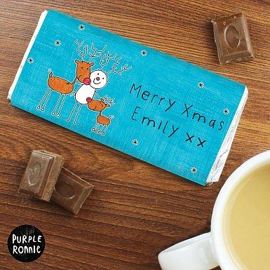 Personalised Purple Ronnie Reindeers Milk Chocolate Bar