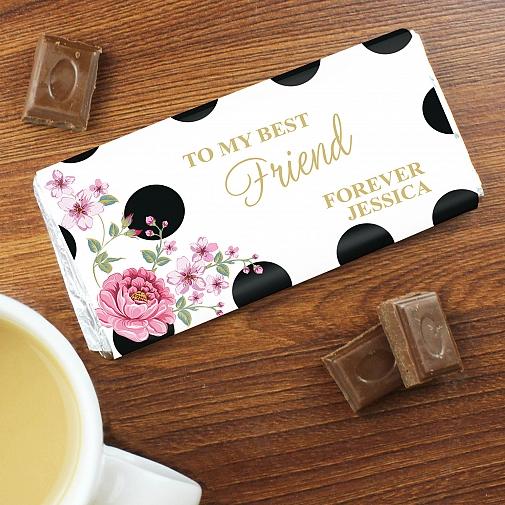 Personalised Floral Dot Milk Chocolates Bar
