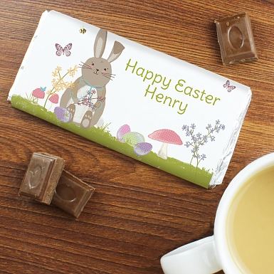 Personalised Easter Meadow Bunny Milk Chocolates Bar