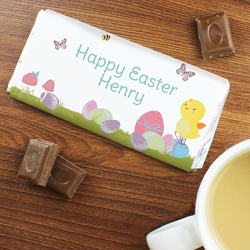 Personalised Easter Meadow chick Milk Chocolates Bar