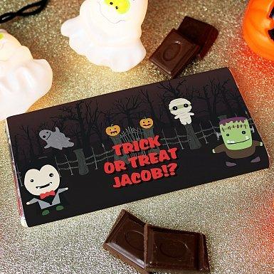 Personalised Halloween Milk Chocolates Bar