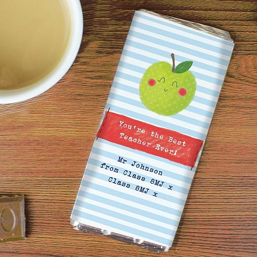 Personalised Happy Apple Milk Chocolates Bar