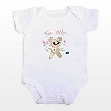 Personalised Cotton Zoo Girls Tweed the Bear 0-3 Months Baby Vest