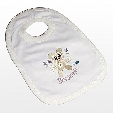Personalised Cotton Zoo Boys Tweed the Bear Bib