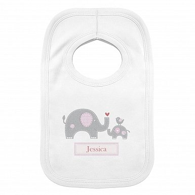 Personalised Pink Elephant 0-3 Months Baby Bib