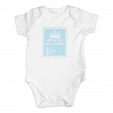 Personalised Blue 1st Class 3-6 Months Baby Vest