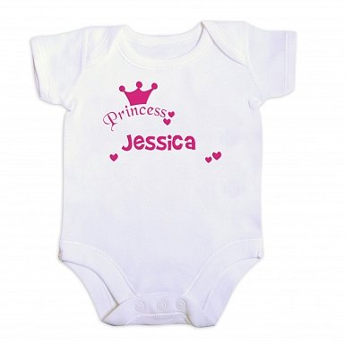 Personalised Little Princess Pink 9-12 Months Baby Vest