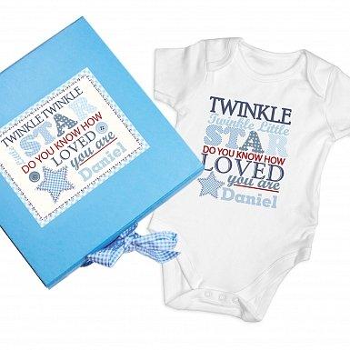 Personalised Twinkle Boys Blue Gift Set - Baby Vest