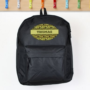Personalised Khaki Camo Black Backpack