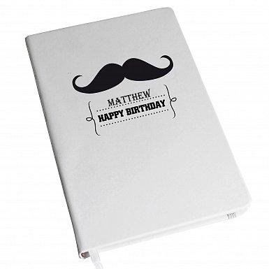 Personalised Moustache Hardback A5 Notebook