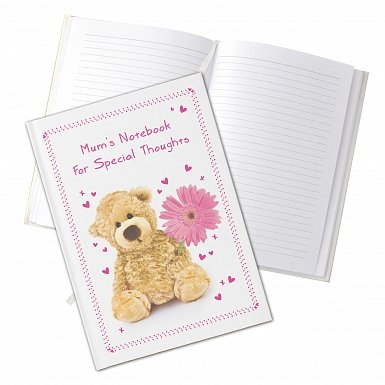 Personalised Teddy Flower Hardback A5 Notebook