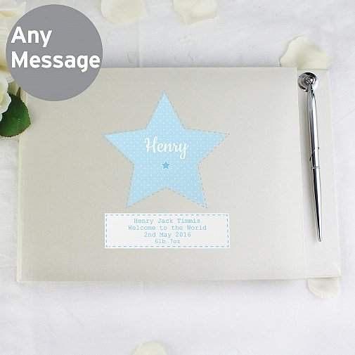 Personalised Stitch & Dot Boys Guest Book & Pen