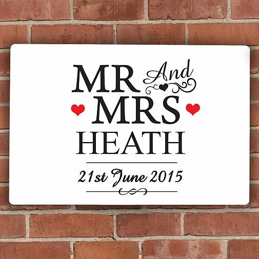 Personalised Mr & Mrs Plaque