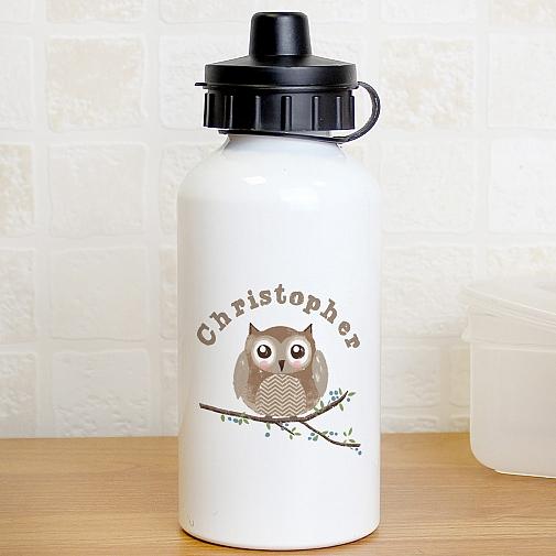 Personalised Woodland Owl Drinks Bottle