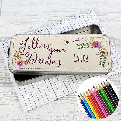 Personalised Dreams Pencil Tin with Pencil Crayons