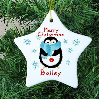 Personalised Felt Stitch Penguin Ceramic Star Decoration