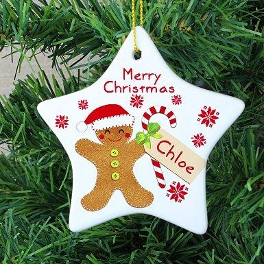 Personalised Felt Stitch Gingerbread Man Ceramic Star Decoration