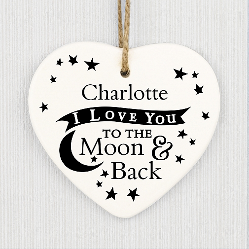 Personalised To the Moon and Back Ceramic Heart Decoration