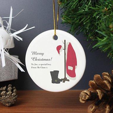 Personalised Santas Home For Christmas Round Ceramic Decoration