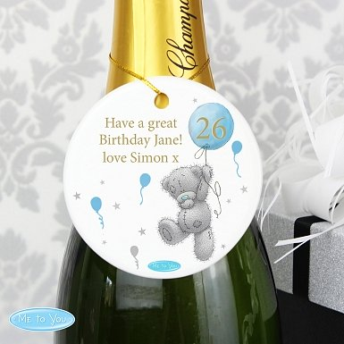 Personalised Me To You Balloon Round Ceramic Decoration