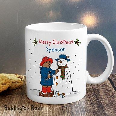 Personalised Paddington Bear Christmas Snowman Mug