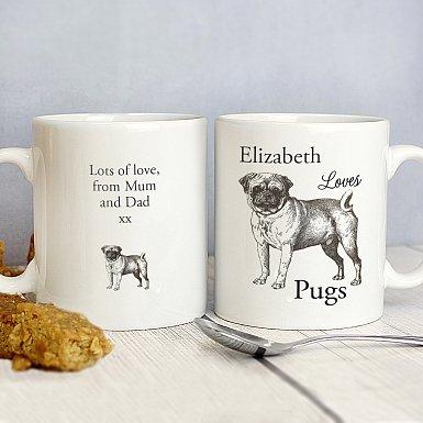 Personalised Loves Pugs Mug