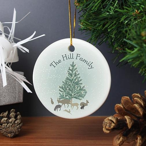 Personalised A Winter's Night Round Ceramic Decoration