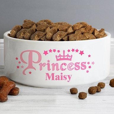 Personalised Princess 16cm Large White Pet Bowl