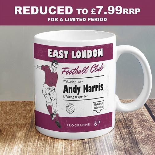 Personalised Vintage Football Claret Supporter's Mug