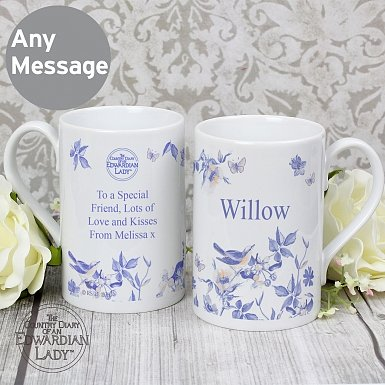 Personalised Country Diary Blue Blossom Slim Mug