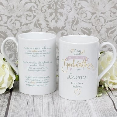 Personalised I Am Glad... Godmother Slim Mug