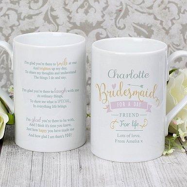 Personalised I Am Glad... Bridesmaid Slim Mug
