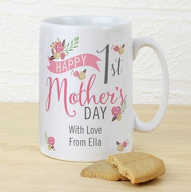 Personalised Floral Bouquet 1st Mother's Day Slim Mug