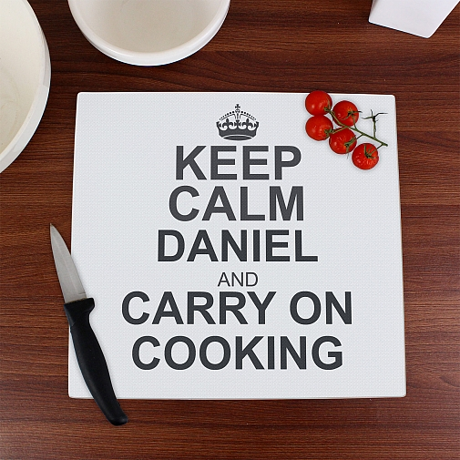Personalised Keep Calm Glass Chopping Board