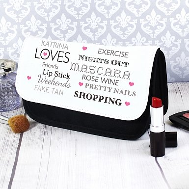 Personalised Top Ten Make Up Bag