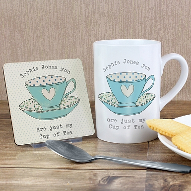 Personalised Vintage Tea Cup Mug & Coaster Set
