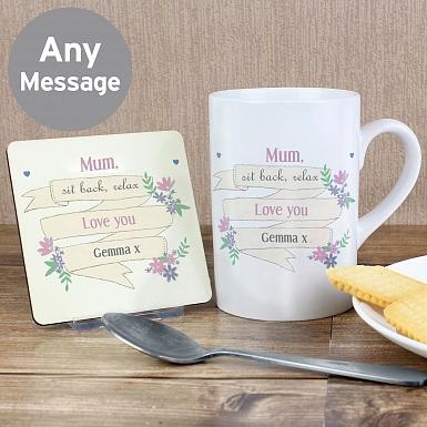 Personalised Garden Bloom Mug & Coaster Set