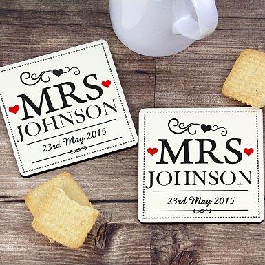 Personalised Mrs & Mrs Coaster Set