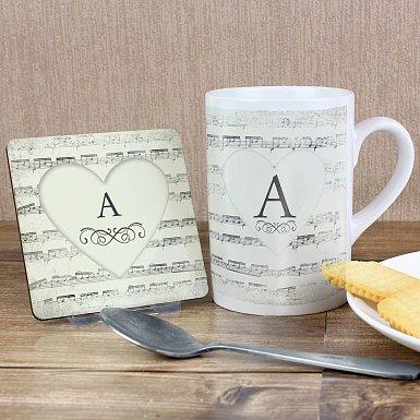 Personalised Vintage Manuscript Mug & Coaster Set