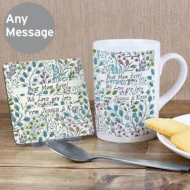 Personalised Botanical Slim Mug & Coaster Set