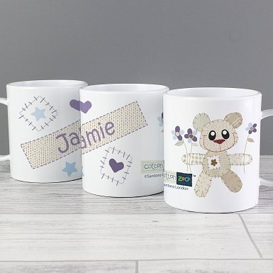 Personalised Cotton Zoo Tweed the Bear Boys Plastic Cup