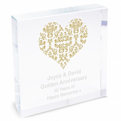 Personalised Gold Damask Heart Large Crystal Token