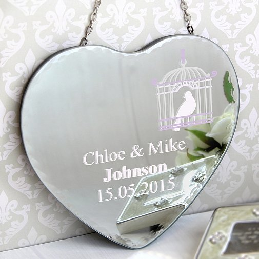 Personalised Bird Cage Hanging Heart Mirror