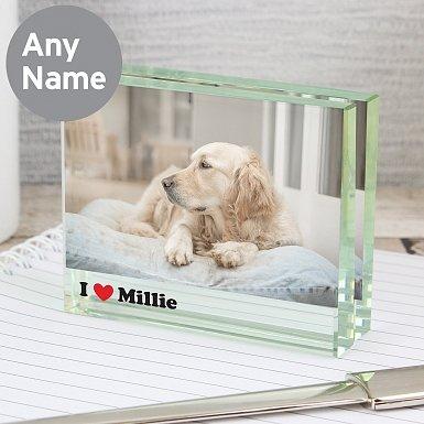 Personalised I Heart Crystal Photo Block Frame